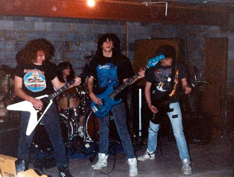 d243aabd8774 Damnation jamming in a basement (Jason is rocking a Wrathchild America t- shirt), circa 1990. (Photo: Metal Archives)